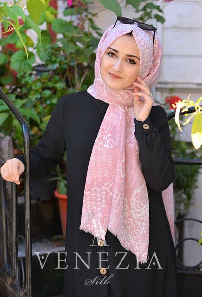 VENEZİA WEAR - Akel Damask Desen Cotton Şal - Pembe (1)