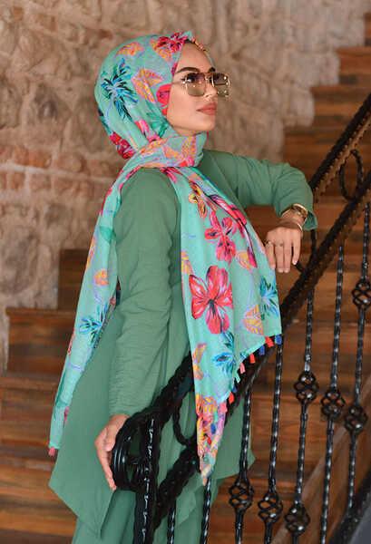 VENEZİA WEAR - Akel Rapunzel Ponponlu Pamuk Şal - Yeşil (1)