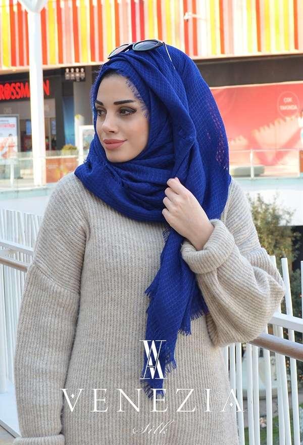 VENEZİA WEAR - Akel Sık Fileli Cotton Şal - Mavi (1)