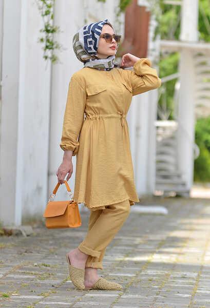 VENEZİA WEAR - Ngs Giyim Büzgülü Cazz Takım - Sarı (1)