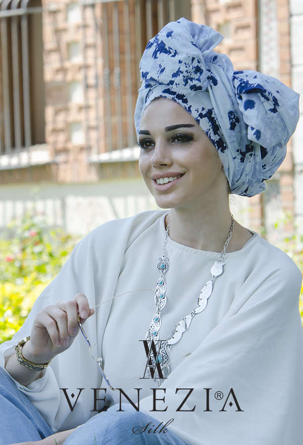 VENEZİA WEAR - U.s Polo Assn. Batik Desen Pamuk Şal - Mavi (1)