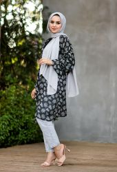 Venezia Wear Ağaç Desenli Kimono - Siyah - Thumbnail