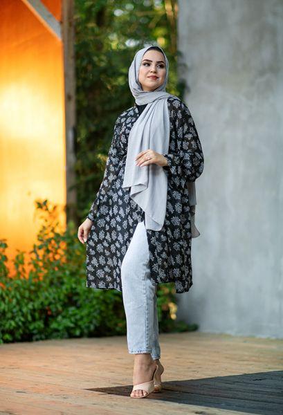 VENEZİA WEAR - Venezia Wear Ağaç Desenli Kimono - Siyah (1)