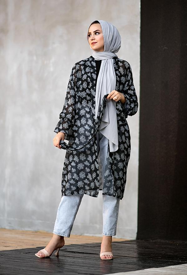 Venezia Wear Ağaç Desenli Kimono - Siyah