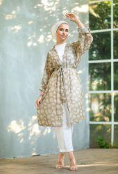 Venezia Wear Ağaç Desenli Kimono - Yağ Yeşili - Thumbnail