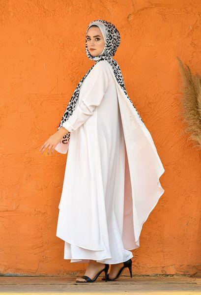 VENEZİA WEAR - Venezia Wear Asimetrik Kesim Elbise - Beyaz (1)