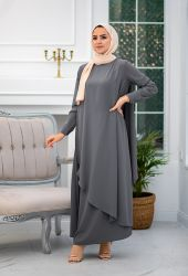 Venezia Wear Asimetrik Kesim Elbise - Gri - Thumbnail