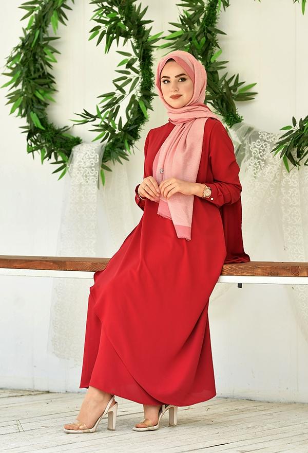 Venezia Wear Asimetrik Kesim Elbise - Kırmızı