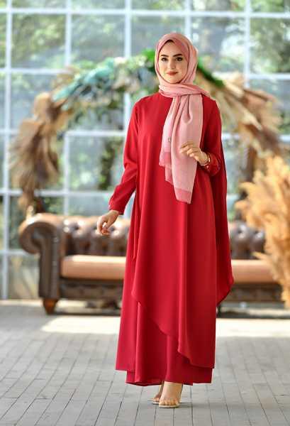 VENEZİA WEAR - Venezia Wear Asimetrik Kesim Elbise - Kırmızı (1)