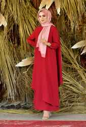 Venezia Wear Asimetrik Kesim Elbise - Kırmızı - Thumbnail