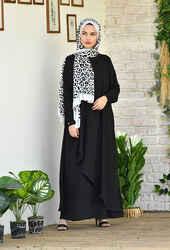 Venezia Wear Asimetrik Kesim Elbise - Siyah - Thumbnail