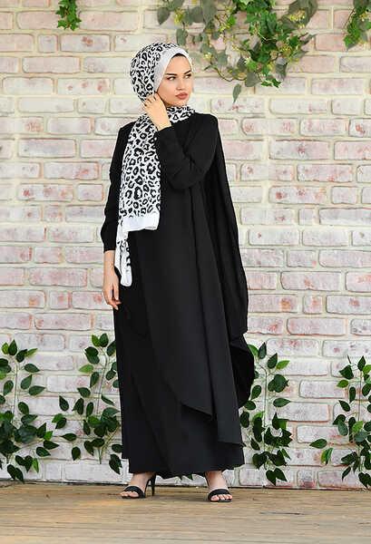 VENEZİA WEAR - Venezia Wear Asimetrik Kesim Elbise - Siyah (1)