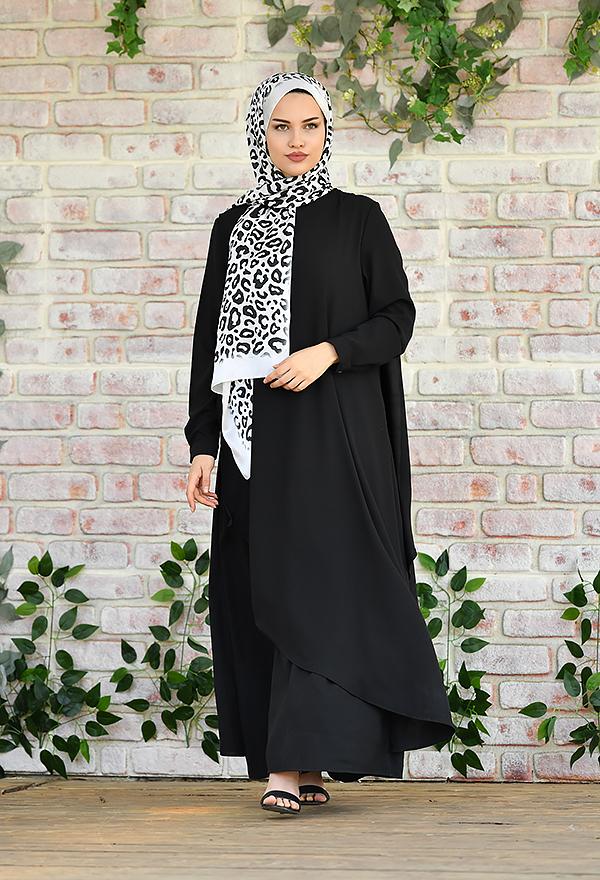 Venezia Wear Asimetrik Kesim Elbise - Siyah
