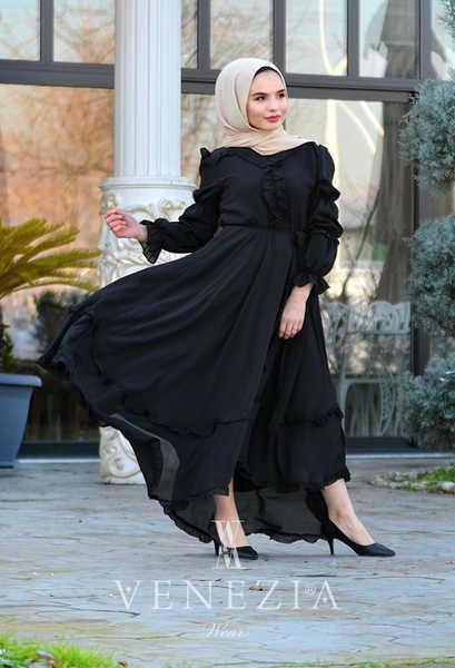 VENEZİA WEAR - Venezia Wear Asimetrik Masal Elbise - Siyah (1)