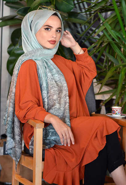 VENEZİA WEAR - Venezia Wear Asya Batik Desen Şal - Su Yeşili (1)