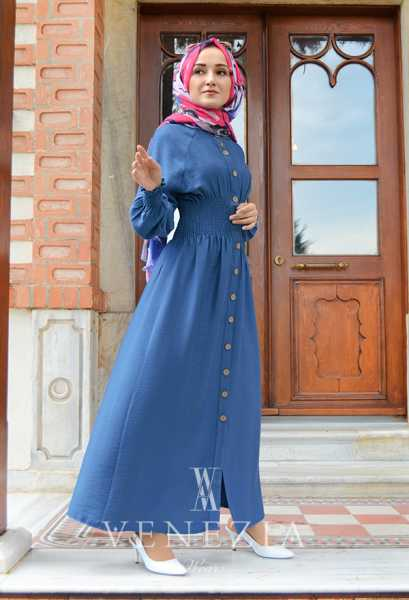 VENEZİA WEAR - Venezia Wear Beli Büzgülü Elbise - Mavi (1)