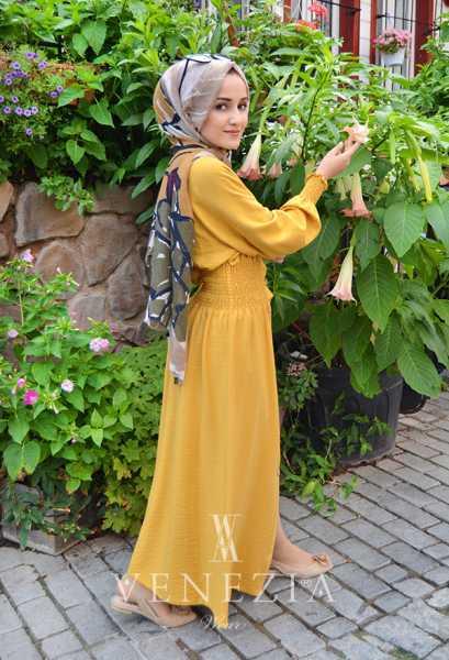 VENEZİA WEAR - Venezia Wear Beli Büzgülü Elbise - Sarı (1)