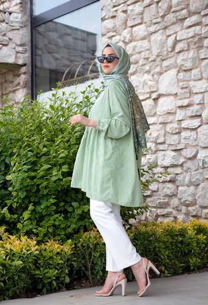 VENEZİA WEAR - Venezia Wear İşlemeli Fırfır Tunik - Yeşil (1)