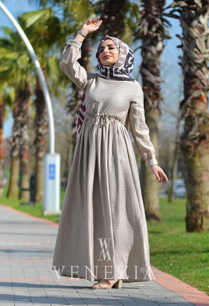 VENEZİA WEAR - Venezia Wear Büzgülü Elbise - Vizon (1)