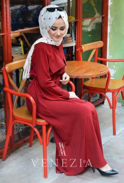 VENEZİA WEAR - Venezia Wear Cazz Cepli Elbise - Bordo (1)