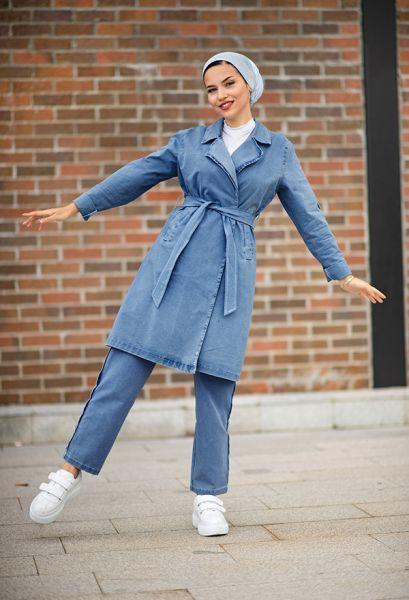 VENEZİA WEAR - Venezia Wear Ceketli Kot Takım - Mavi (1)