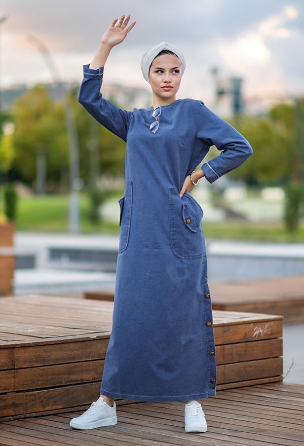 Venezia Wear Cepli Kot Elbise - Mavi