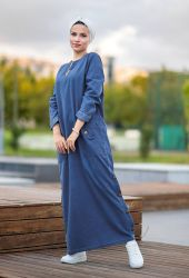 Venezia Wear Cepli Kot Elbise - Mavi - Thumbnail