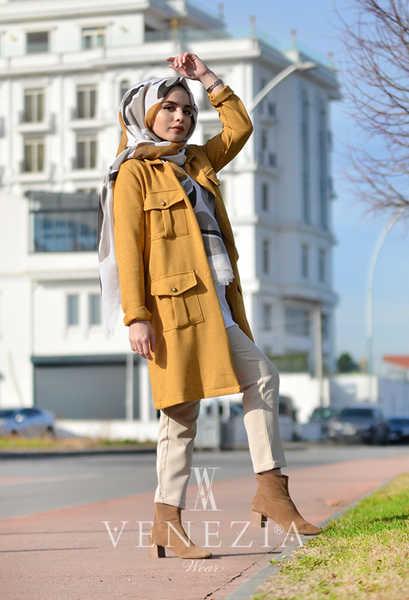 VENEZİA WEAR - Venezia Wear Cepli Tesettür Ceket - Sarı (1)