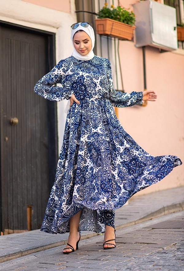 Venezia Wear Çiçek Desenli Kat Kat Elbise - Mavi