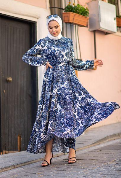VENEZİA WEAR - Venezia Wear Çiçek Desenli Kat Kat Elbise - Mavi (1)