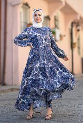 Venezia Wear Çiçek Desenli Kat Kat Elbise - Mavi - Thumbnail
