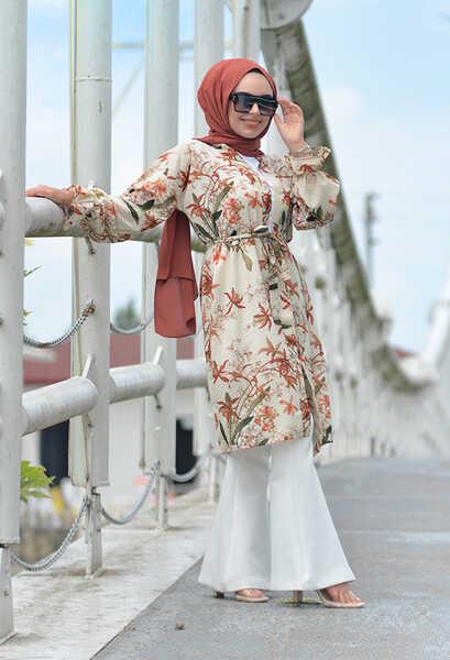 VENEZİA WEAR - Venezia Wear Çiçek Desenli Kimono - Vizon (1)