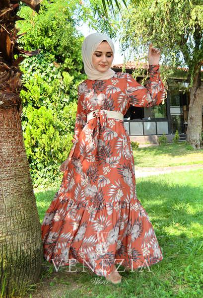 VENEZİA WEAR - Venezia Wear Çiçekli Kemer Detaylı Elbise - Kiremit (1)