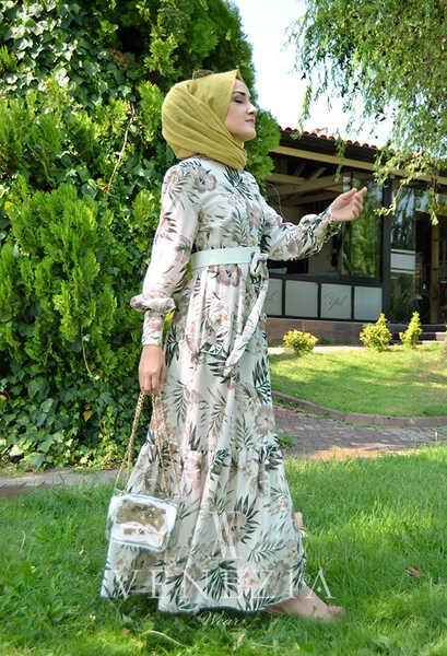 VENEZİA WEAR - Venezia Wear Çiçekli Kemer Detaylı Elbise - Vizon (1)
