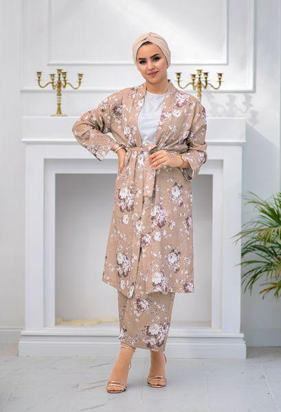 VENEZİA WEAR - Venezia Wear Çiçekli Kimono Takım - Vizon (1)