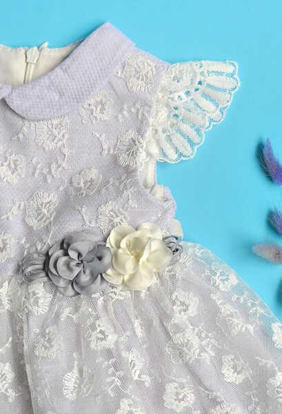 VENEZİA WEAR - Venezia Wear Çiçekli Kız Çocuk Elbise - Lila (1)