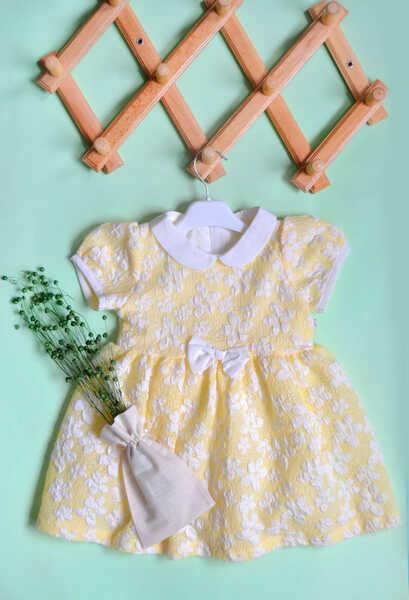 VENEZİA WEAR - Venezia Wear Çiçekli Kız Çocuk Elbise - Sarı (1)