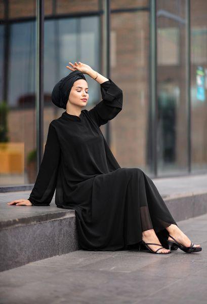 VENEZİA WEAR - Venezia Wear Çift Kat Tesettür Elbise - Siyah (1)
