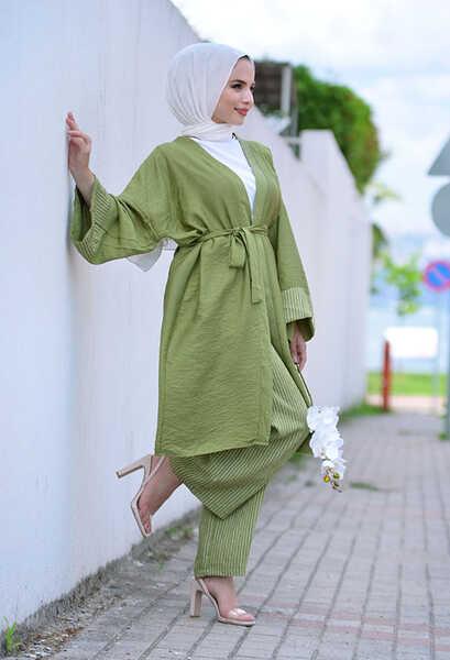 VENEZİA WEAR - Venezia Wear Çizgili Kimono Takım - Açık Yeşil (1)