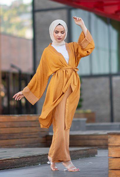 VENEZİA WEAR - Venezia Wear Çizgili Kimono Takım - Kavuniçi (1)