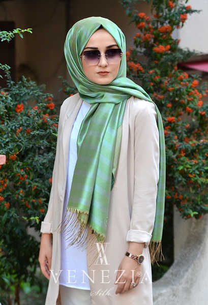 VENEZİA WEAR - Venezia Wear Çizgili Tafta Şal - Yeşil (1)