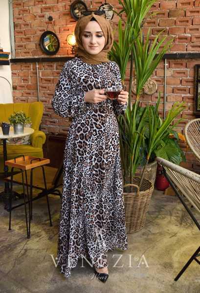 VENEZİA WEAR - Venezia Wear Damga Desen Kemerli Elbise - Kahve (1)