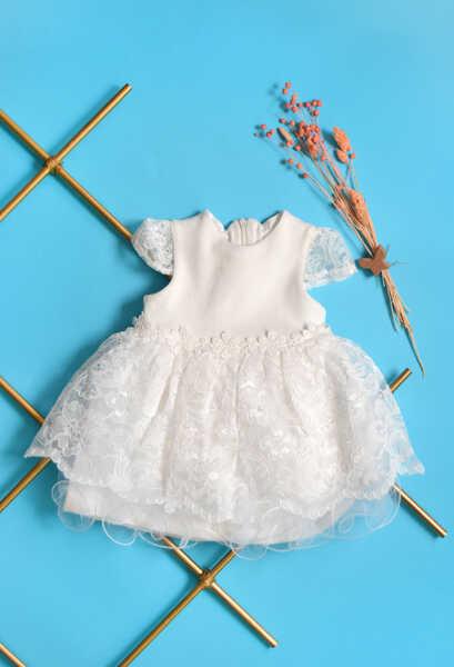 VENEZİA WEAR - Venezia Wear Dantel Çiçekli Kız Çocuk Elbise - Ekru (1)