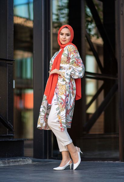 VENEZİA WEAR - Venezia Wear Desenli Kolu Büzgülü Kimono - Beyaz (1)
