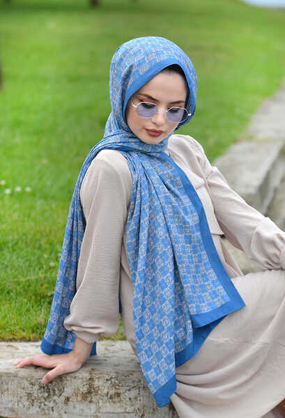 VENEZİA WEAR - Venezia Wear Desenli Medine İpeği Şal - Mavi (1)