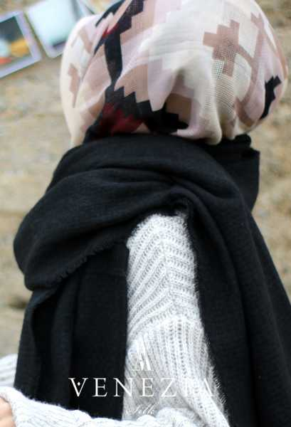 VENEZİA WEAR - Venezia Wear Dokuma Desenli Atkı - Siyah (1)