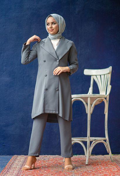 VENEZİA WEAR - Venezia Wear Düğmeli Ceketli Takım - Gri (1)