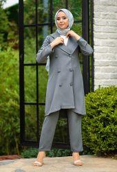 Venezia Wear Düğmeli Ceketli Takım - Gri - Thumbnail