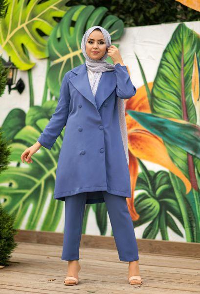 VENEZİA WEAR - Venezia Wear Düğmeli Ceketli Takım - İndigo (1)