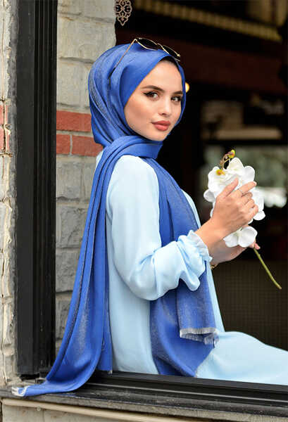 VENEZİA WEAR - Venezia Wear Düz Renk Abiye Şal - Koyu Mavi (1)